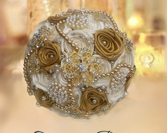 Brooch Bouquet , Gold & Ivory Brooch Bouquet , Hollywood Glam Bouquet , Gatsby Bouquet , Gatsby Wedding, Deposit - Full Price 300.00-475.00
