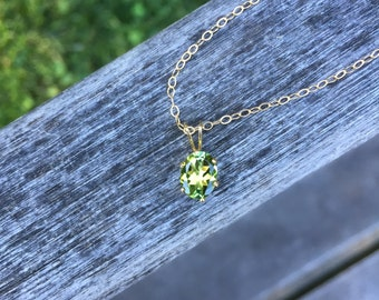 Green Tourmaline Oval Six-Prong Pendant Necklace in 14K Gold Fill - 16 or 18 inches