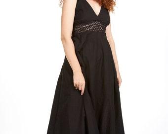 HIPPIE MAXI DRESS, long black strappy hippy dress, bohemian boho festival dress, lace and cotton goddess sun dress, little black dress lbd