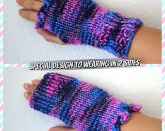 Boot cuffs or Fingerless gloves, Pick up your style Boot cuffs or Fingerless gloves, Purple pink and blue gloves,Hand knitted Wrist Warmers