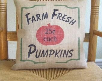 Pumpkin pillow, Farm fresh, Halloween pillow, burlap pillow, Fall pillow, stenciled pillow, Halloween decor, Thanksgiving decor