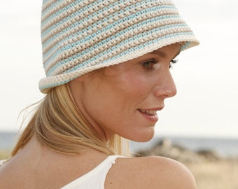 Summer hat, cotton hat, striped hat, crocheted hat, 100% hand made.