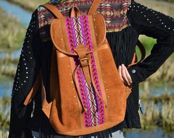 LEATHER BACKPACK, MOCHILA de cuero, mochila étnica, ethic bag, mochila étnica