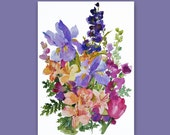 "Watercolor Flowers -  Painting entitled: ""A Spring Bouquet"" - An Original Painting by Linda Henry"