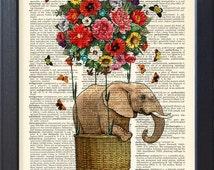 Elephant poster, art print Flying Elephant, flower hot air balloon, Dictionary Print poster, Dorm Home Wall decor, gift poster, CODE/203