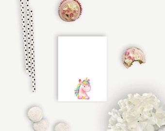 Mini Personalized Notepads - Watercolor Unicorn - Personalized Notepads - 25-50 Pages