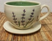 Large Tea Cup and Saucer with Lavender illustration