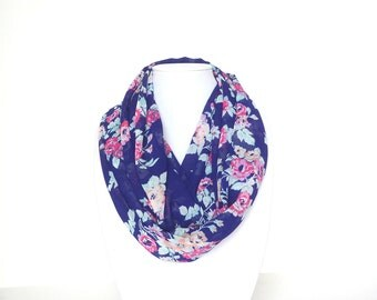 Floral Scarf, Infinity Scarf, Summer Outdoors, Fall Scarf, Navy Blue Scarf, Lightweight Scarf, Chiffon Scarf, Ladies Scarf, Gift For Mom