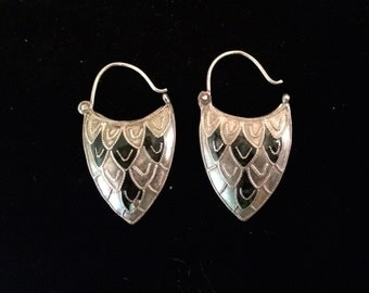 Antique Sterling and Enamel Earrings