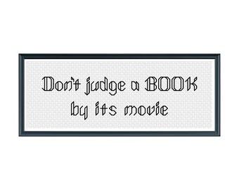 Book Cross Stitch Pattern; Movie Cross Stitch Pattern; Funny Book Cross Stitch Pattern