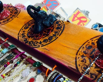 Necklace holder /jewelry hanger /reclaimed wood elephant decor/ jewellry wall storage hanging organizer 3 knobs 2 blue hooks & bracelet bar