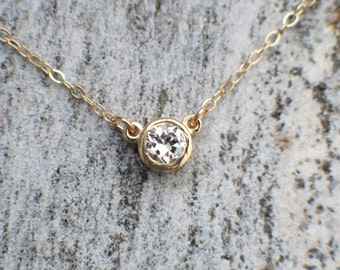 Diamond Solitaire Bezel Set .25 Carat 14K Gold Necklace