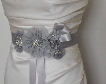 Gray Bridal Sash