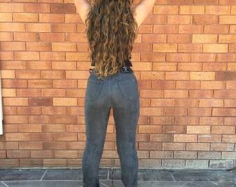 90's Grey Velvet, VERSACE, High Waist, Skinny Jeans, Pants Size Small S