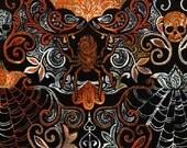 Black Bats Skulls & Web Damask Fabric Yardage. Wicked Night Timeless Treasures. Halloween Fabric. Halloween Holiday Decor. Halloween Damask