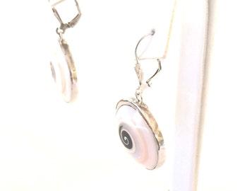 Sterling Silver Swirl Glass Dangle Earrings