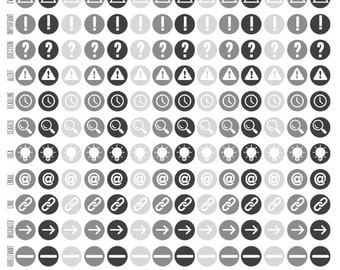 Bullet Journal Stickers Basic Icons - Monochrome