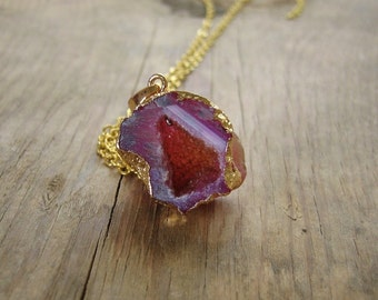Tiny Geode Cave Necklace Pink Agate Druzy Edged in Gold - Gold Boho Jewelry, Bohemian Necklace