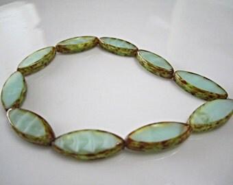 Mint Green Czech Glass Spindle Beads Green Glass Beads Oval Czech Beads Oval Beads Mint Picasso Beads 17x8mm (6 pcs) 183V3