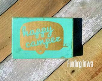 Block Sign//Sign//Wood Sign//Happy Camper Block Sign