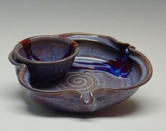 Stoneware Chip Dip, Pottery Chip Dip, Dusty Purple Glaze