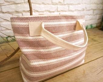 Red Knit Striped Tote Bag / Handbag / Purse