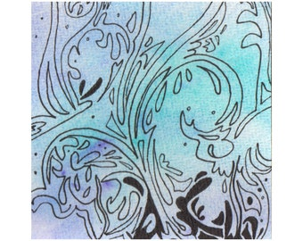 "Original Ink & Watercolour artwork, 3"" x 3"" painting, pretty blue abstract pattern, paua colours, New Zealand artist"