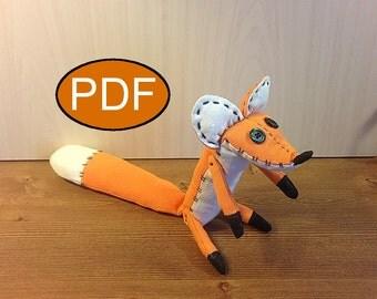PDF fox pattern tutorial fabric toy fox DIY doll pattern stuff fox pattern rag doll pattern  fox sewing pattern fox toy pattern woodland