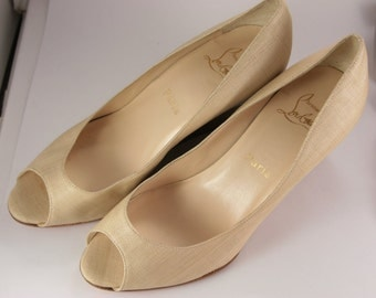Christian Louboutin Shoes Leather Beige Canvas Wood Wedges Made in Italy 38.5