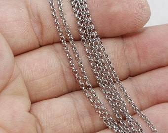 3,3 Feet 2mm Stainless steel chains, box chains, rolo chains, Rhodium Plated Chains, Cable Chains, Soldered Chains, BX63