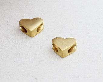 1 Pcs 24k Matt Gold Plated Heart Beads, Large Hole Hearts, 12x15mm , Heart Beads, Heart Pendant, Heart Charms , brclt , MTE61