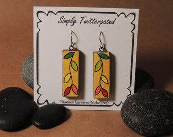 Hand painted autumn leaves earrings (Hypoallergenic titanium)