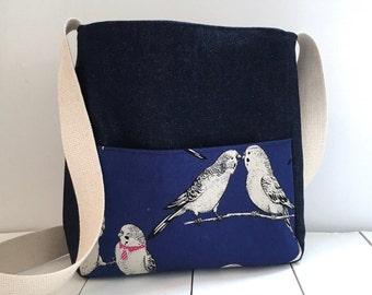 Handmade Budgie fabric Messenger Bag