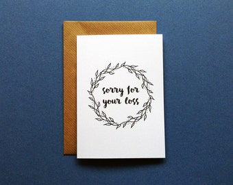 Empathy Card, Sorry For Your Loss, Bereavement Card, Apology Greeting, Thinking Of You Empathy Card, Apologies Handmade Card