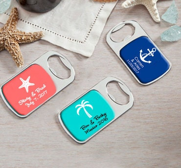 beach wedding favor personalized bottle opener by eventdazzle