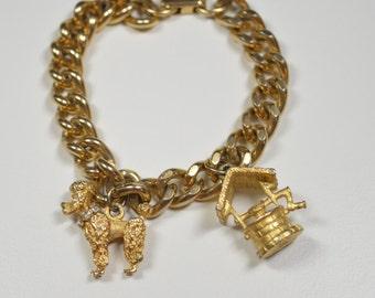 Vintage Charm Bracelet Gold Tone Chain Poodle Charm Wishing Well Charm Goldtone Charms Vintage Charms Vintage  Bracelet