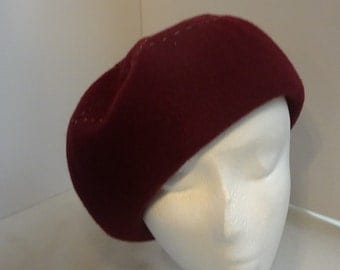 Wool French Beret/ Tam Burgundy 1930's Style