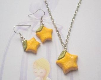 Polymer Clay Paopu Fruit necklace and earring