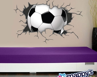 Soccer Ball Wall Decal Breaking Through, Bursting, Shattering The Wall Decal  For Boys Or