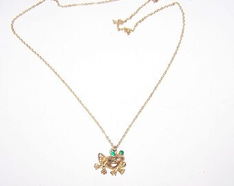 Frog Necklace / Frog Pendant / SALE / Gold / Emerald Green Rhinestone Eyes - F876B