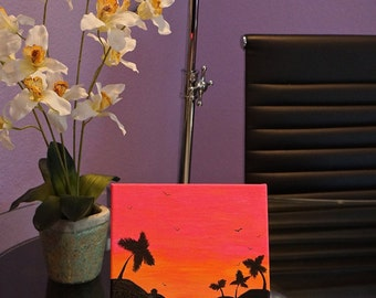 Hot Pink Sunset with Textured Water 8x10
