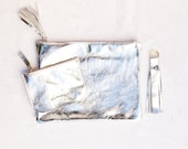 GIft set for women, Silver coin purse, silver leather clutch, silver leather key chain, credit card holder, gift for women