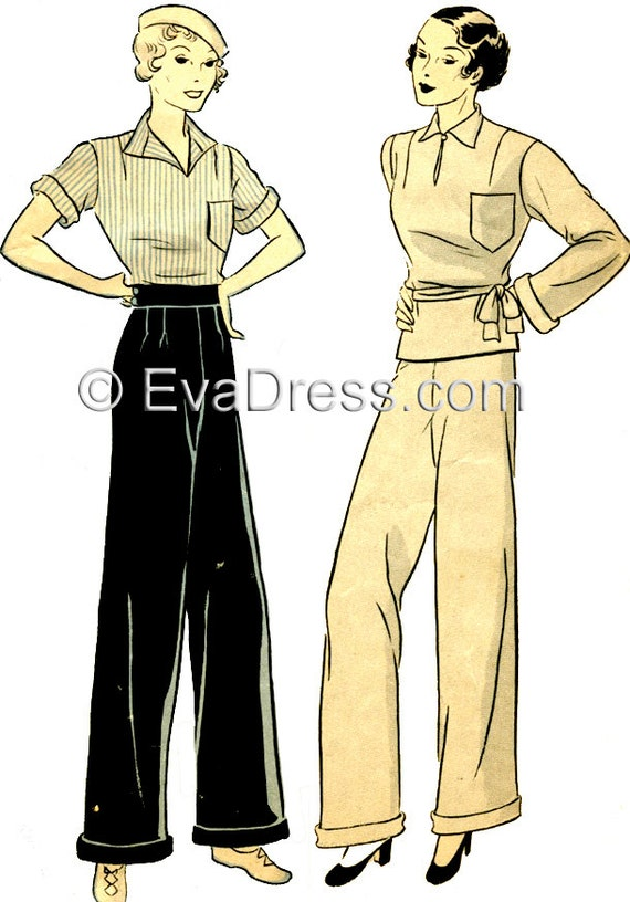 1930s Women's Pants and Beach Pajamas 1935 Palazzo Ensemble $22.00 AT vintagedancer.com