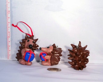Hedgehog with Christmas present Christmas tree decoration made from Fimo/ Polymer Clay