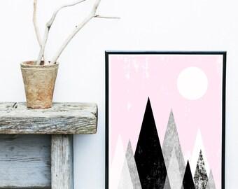 Art print, Geometric Print, Digital Download, Printable Art, Geometric Art, Mid Century Modern, Mountain Print, Abstract Art Print