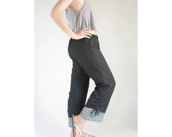 Summer Cotton Cozy Pants, Beach, Breezy Casual Drawstring Pants, Loose Fitting, Maternity Comfy Pants in Black