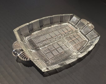 Vintage Glass Tray 3 Sectioned Serving Dish Divided Condiment Snacks Appetizer Relish Rectangular Serving Tidbit with Handle Platter