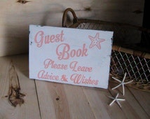 Wedding Sign, Beach Wedding Decor, Guest Book Sign, Coral Wedding, Starfish, Guest Sign In