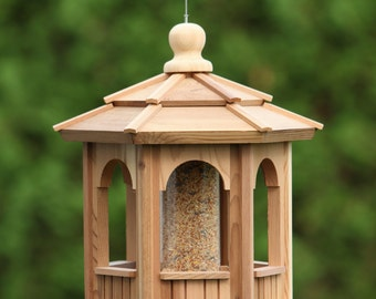 Cedar Bird Feeder Gazebo - 6 sided Hexago 12""