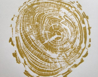 "Medium Pecan Tree Print in Gold (block #10), 11""x14"", Tree Ring Print, Original Art"